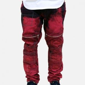 Denim House Acid wash dipped moto biker jeans